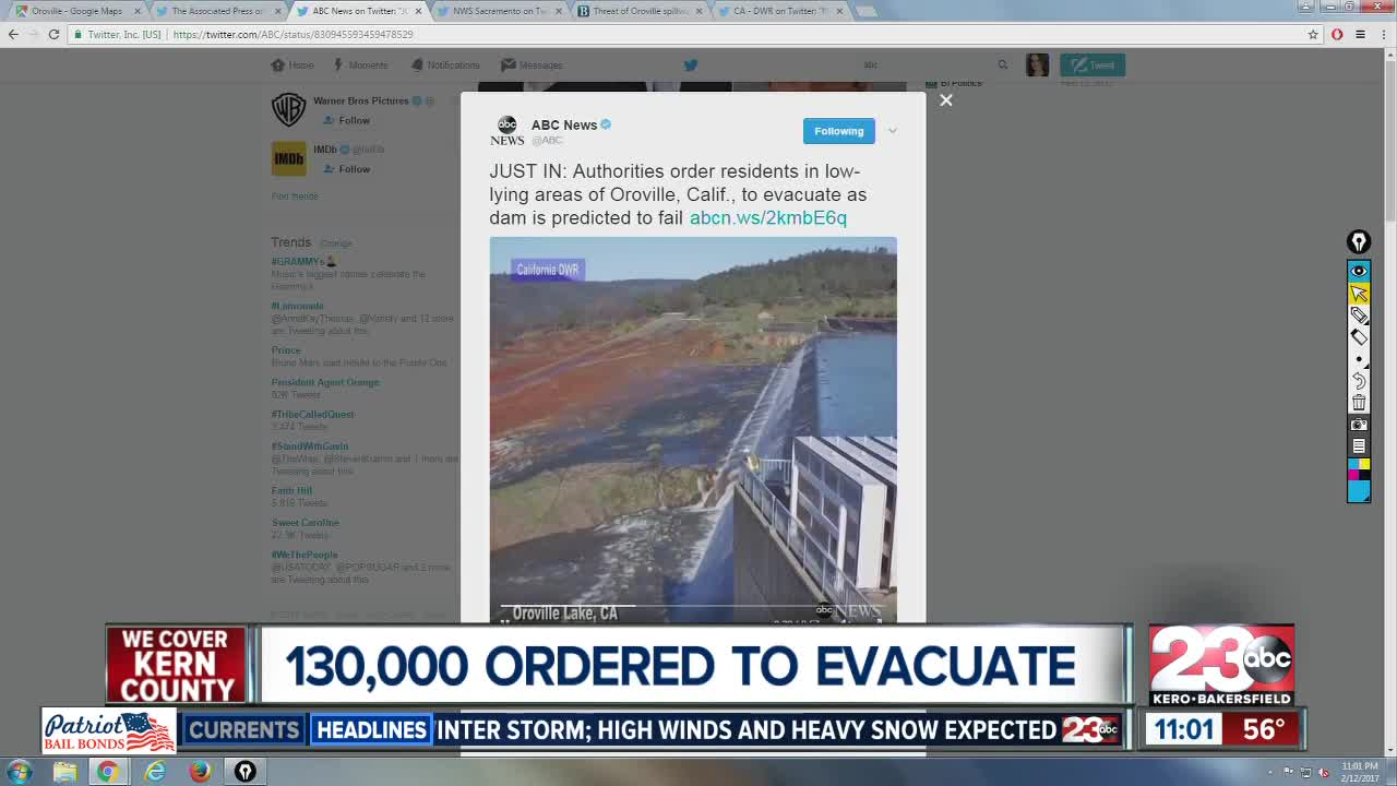 Auxiliary spillway of Oroville Dam expected to fail